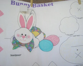 Easter Bunny Basket Plus Eggs - Cut and Sew Fabric Panel