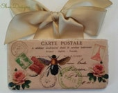 French Vintage Postcard Marble Subway Tile Sign with Bee, Roses and Eiffel Tower Stamp Creamy Tan Satin Ribbon Hanger