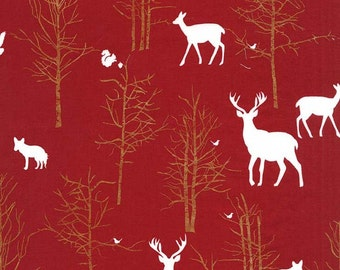 SALE, Timber, Valley, Fabric, Cranberry, Red, Metallic, Buck, Stag, Deer, Christmas, Brambleberry, Ridge, Michael Miller, In Custom Cuts