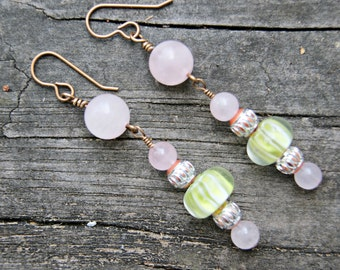 Summer Sweets Rose Quartz and Glass Earrings