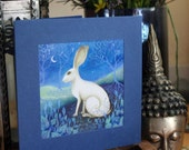 A single greeting card. Titled 'The Hare'.   Illustrations and paintings by Amanda Clark.