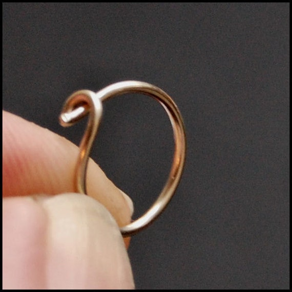 white gold nose hoop 14k solid gold white gold nose ring