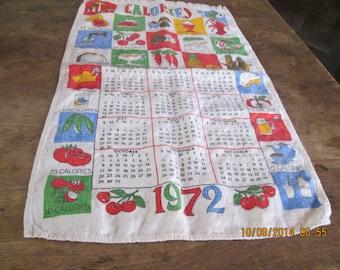 """Kitchen towel, vintage 1972 """"Calories"""" all cotton, good condition"""