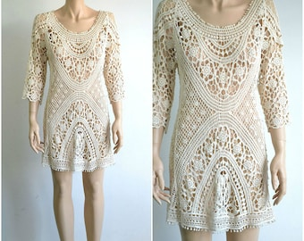 90s Sheer Crochet Lace Mini Dress Boho Tunic