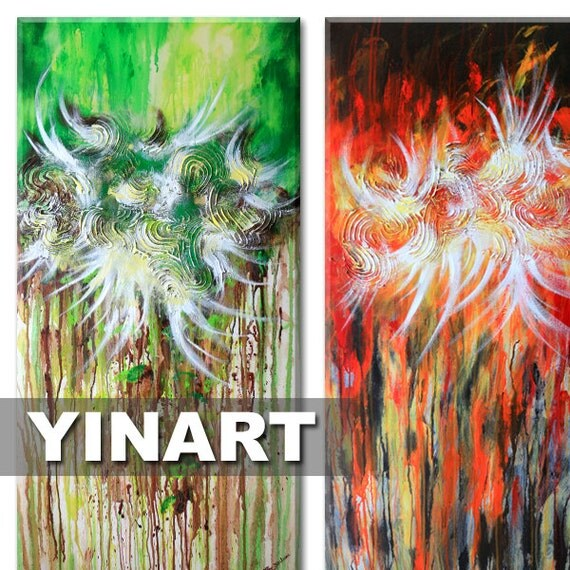 "original large huge floral flower Abstract Landscape painting on twin 24""x48"" canvas - red green brown Global Warming Art"
