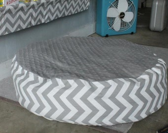 Floor Pillow Cover - Gray and White Chevron - Pouf Large