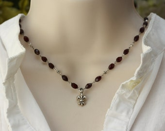 Fleur De Lis, Garnet Necklace, Oxidized Silver Necklace, Retro Trend, Downton Abbey, Victorian Style, Birthday Gift for Wife