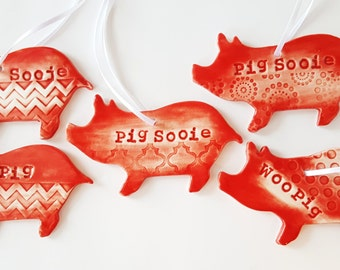 Pig Sooie   Woo Pig   Pig Ornament   MADE TO ORDER   Christmas Ornaments   Ornaments   Textured Clay   Razorback Ornament   Pig Art