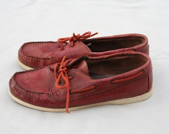 Size 8 Vintage Red Leather Boat Shoes Balloons Made in Spain Top Siders