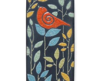 Bird,poppy red,Ceramic tile,Whimsical, handmade, wall art, home decor 3x6 raku fired art tile
