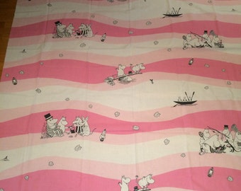 "Moomin 2 yards pink Cotton Fabric for various projects, 2 yards, 56"" wide,Finland"