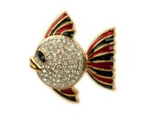 1980s Pave White Rhinestone and Enamel Swimming Gold Plated Vintage Fish Brooch