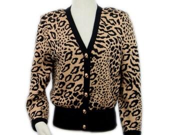 1980s St John by Marie Clair Tan and Black Leopard Print Santana Knit Vintage Cardigan Sweater