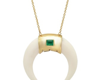 Bone Horn Pendant, Horn Necklace, Statement Necklace, Natural Pendant, Organic Jewelry, Green Emerald, Gold Necklace, Tula jewelry.