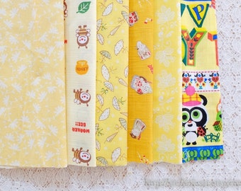 S027 Fabric Scraps Bundle Set - Yellow Colorway Working Bees Chic Umbrella Toy Animals Floral Flower Garden (6PCS, 9x9 Inches)