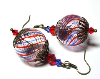 Jewelry Earrings, Blue Red Hand Blown Swirl, Swarovski Austrian Crystals, Antique Brass