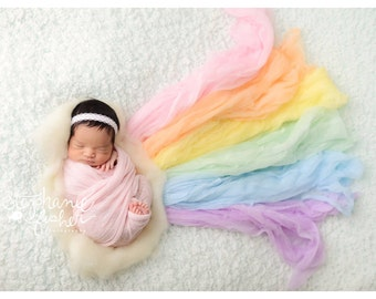 Newborn Wrap- Rainbow Baby - Rainbow Set - Photography - Baby Boy or Baby Girl - Cheesecloth Wrap - Photography Prop - 6-Pack -