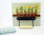 Toilet Paper Holder Bathroom Decor Fused Glass Wall Art