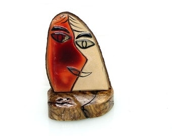 Fused Glass face Sculpture,  Abstract Fused Glass art