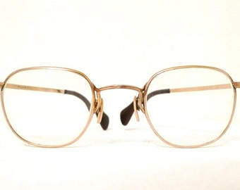 Stunning Adult Sized Yellow Gold Early Aviator Eyeglasses. Vintage Lennon Frames. Antique Marshwood P3 Spectacles Steampunk Antique Gold USA