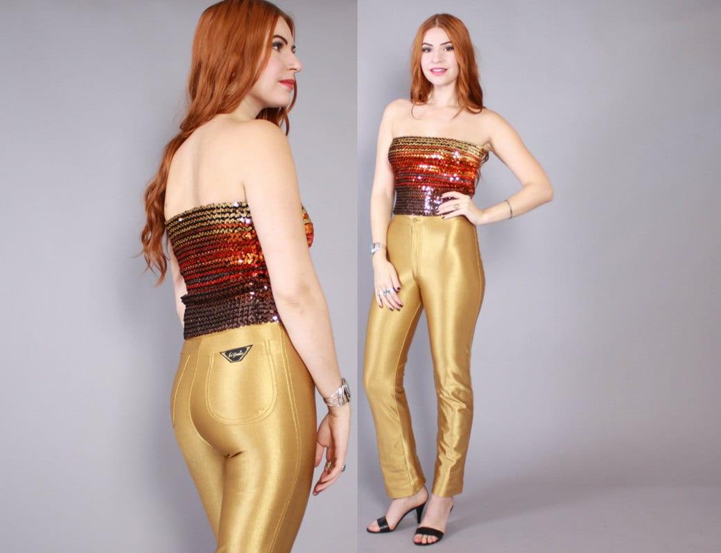 Vintage 70s DISCO PANTS / 1970s Shiny GOLD Spandex Wet Look Le