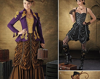 Goth/Steampunk Outfits for Ladies - Simplicity 1248 - New Designer Sewing Pattern, Sizes 6. 8, 10, and 12