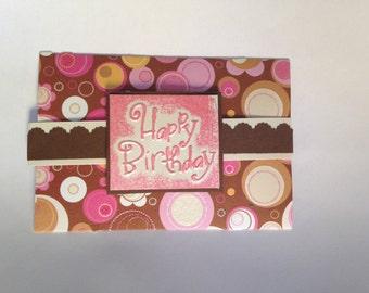 Handmade 'Happy Birthday' Gift Card: Brown, Pink, Yellow