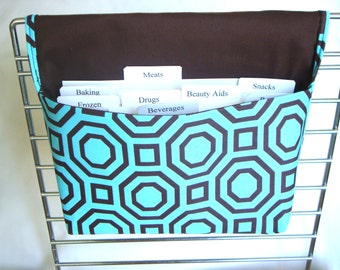 40% OFF -Coupon Organizer / Budget Organizer Holder / Attaches to your Shopping Cart- Teal with Brown Octagon