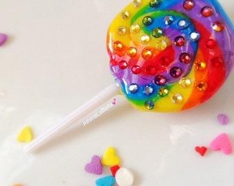 Lollipop Brooch, Lollipop Pin, Candy Jewelry, Resin Jewelry, Kawaii Jewelry, Novelty Pin, Candy Pin, Pop Art Jewelry, Rainbow Jewelry