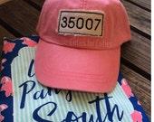 Monogram hat zip code hat ballcap Hometown cap