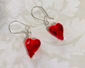 Heart Swarovski Red Crystal Earrings