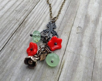 Red Poppy and Green Glass Necklace