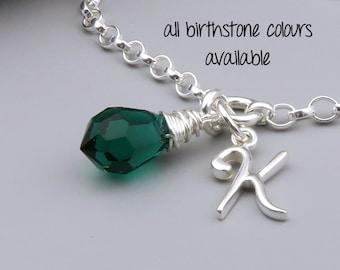 Personalized Birthstone Bracelet, Initial Bracelet May Birthstone Charm, Sterling Silver, Custom Birthstone,