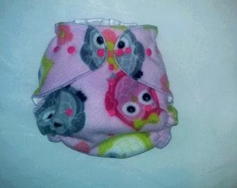 Owl Fleece diaper wrap