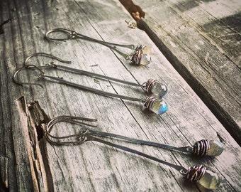 Sterling Silver Labradorite Earrings Handmade Wild Prairie Silver Jewelry