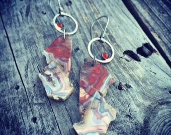 Sterling Silver Crazy Lace Agate Carnelian Earrings Handmade Jewelry Wild Prairie Silver Joy Kruse