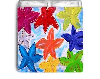 Colorful starfish bedding comforters, duvet covers from my art