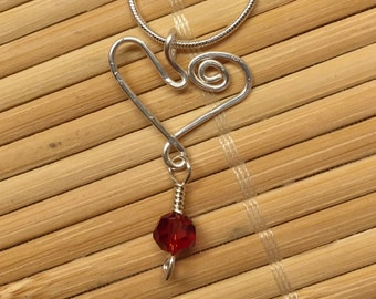 Delicate Silver Wire Wrapped Heart Pendant Necklace - Red Crystal Jewelry for Women