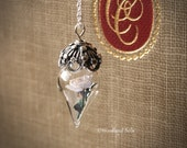 Elegant Ivory White Rose Flower Tiny Terrarium Necklace Glass Vial by Woodland Belle