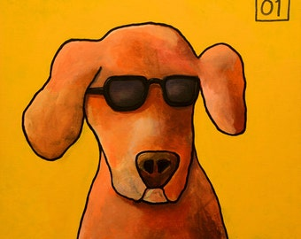 204 Dog - folded art card 15x15cm/6x6inch with envelope