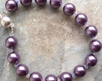 Purple Swarowski pearl bracelet
