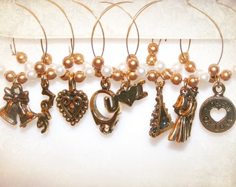 Wedding Wine Charms - Set of Eight Antiqued Gold Glass Markers. Wedding Favors. Bridal Shower Favors.