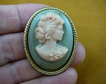 Dignifed Lady Woman with hair up in curls rose on shoulder blue and ivory oval Cameo brass pin pendant brooch CL36A-1