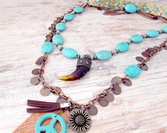 Layered Boho Statement Necklace - Copper Boho Necklace - Statement Necklace - Layered Necklace - Turquoise Necklace - Boho Choker Necklace