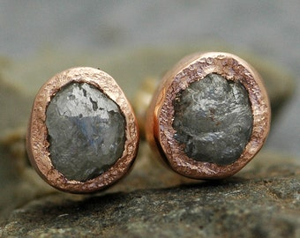 Rough Diamond and 14k Recycled Rose Gold Bezel Post Earrings- Ready to Ship