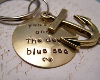 You and Me and the Deep Blue Sea Keychain with Anchor Charm. Love. Romance