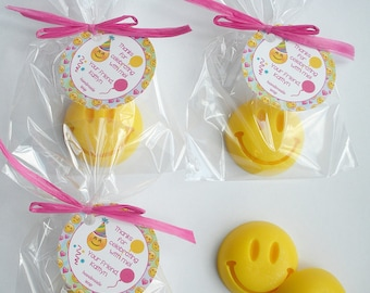 Emoji Happy Face Smiley Face Dance Party Shower Favors Handmade Soap (20 Complete Favors with Tags)