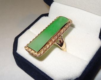 14k Yellow Gold Long Rectangle Jade Ring Size 6.5