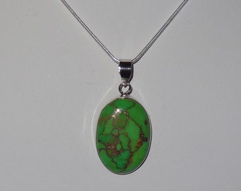 Sterling Silver and Green Turquoise Cabochon Pendant Necklace