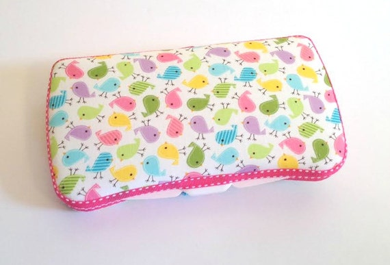 Designer Travel Wipes Case with Diaper Strap | Diaper Clutch | Mom Clutch | Diaper and Wipes Holder | Birds in Spring- Mini